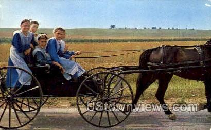 Amish GIrls - Lancaster, Pennsylvania PA Postcard