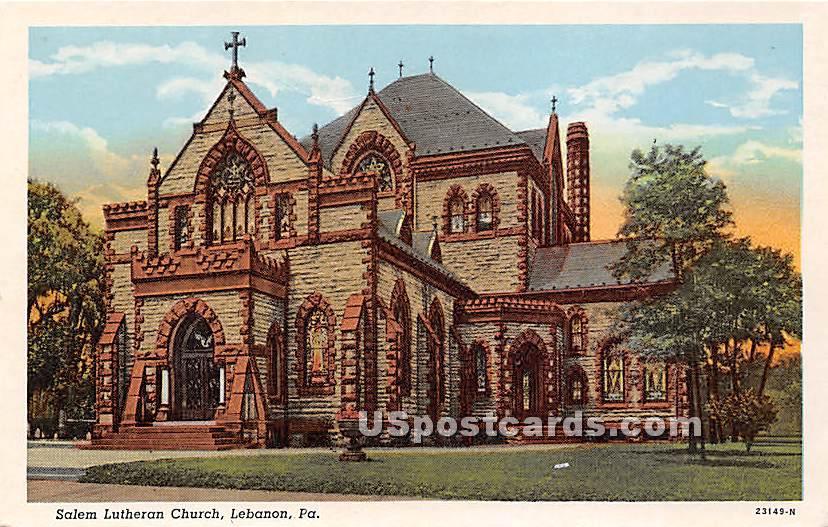 Salem Lutheran Church - Lebanon, Pennsylvania PA Postcard