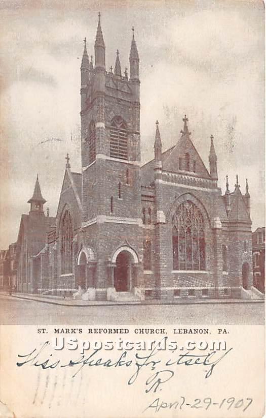 St Mary's Reformed Church - Lebanon, Pennsylvania PA Postcard
