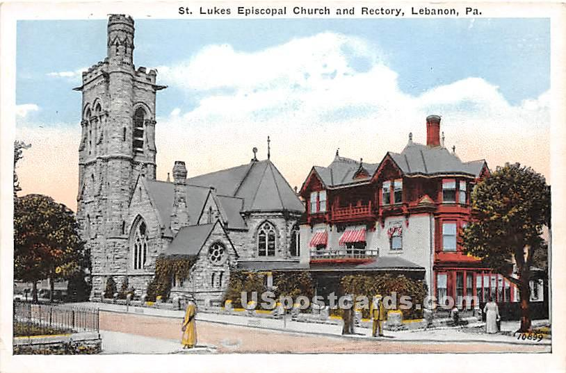 St Lukes Episcopal Church & Rectory - Lebanon, Pennsylvania PA Postcard