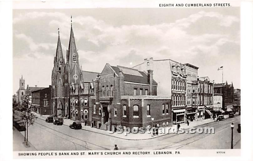 St Mary's Church & Rectory - Lebanon, Pennsylvania PA Postcard