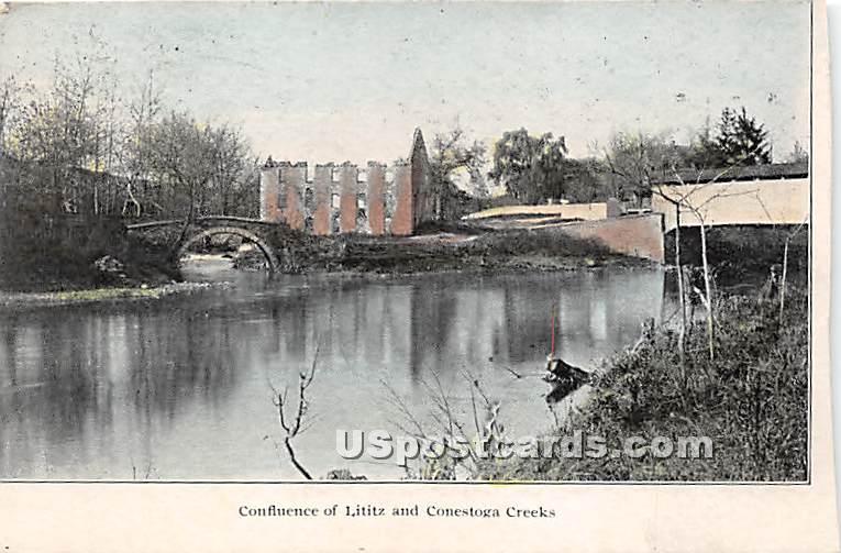 Confluence of Lititz & Conestoga Creeks - Lebanon, Pennsylvania PA Postcard