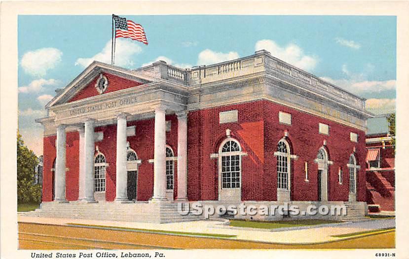 United States Post Office - Lebanon, Pennsylvania PA Postcard