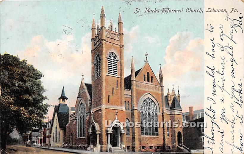 St Mark's Reformed Church - Lebanon, Pennsylvania PA Postcard