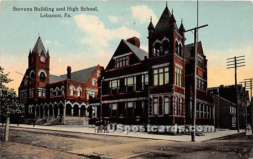 Stevens Building & High School - Lebanon, Pennsylvania PA Postcard