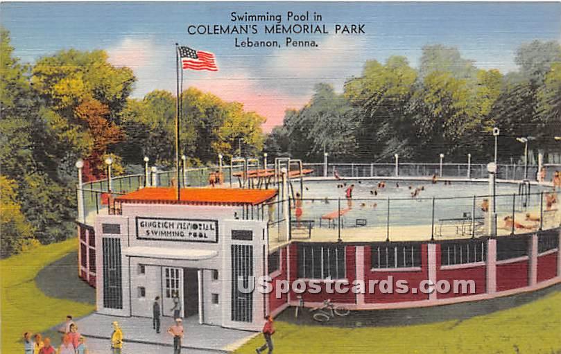 Swimming Pool, Coleman's Memorial Park - Lebanon, Pennsylvania PA Postcard