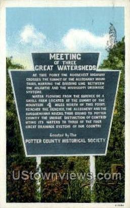 Meeting Threet Great Watersheds - Misc, Pennsylvania PA Postcard