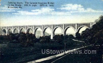 Largest Concrete Bridge - Nicholson, Pennsylvania PA Postcard