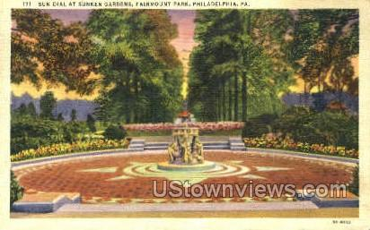 Sun Dial & Sunken Gardens - Philadelphia, Pennsylvania PA Postcard