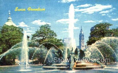 Swan Fountain - Philadelphia, Pennsylvania PA Postcard