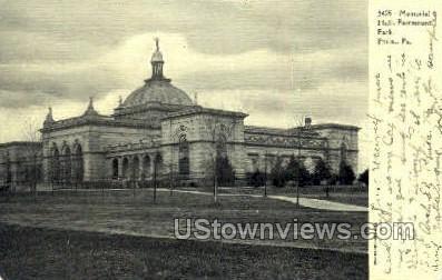Memorial Hall - Philadelphia, Pennsylvania PA Postcard