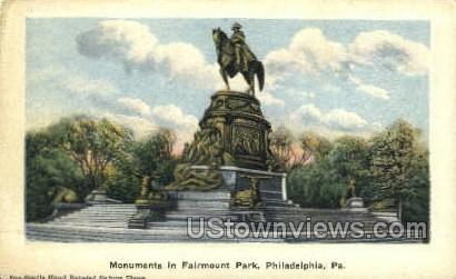 Monuments, Fairmount Park - Philadelphia, Pennsylvania PA Postcard