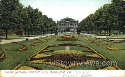 Sunken Gardens, Fairmount Park - Philadelphia, Pennsylvania PA Postcard