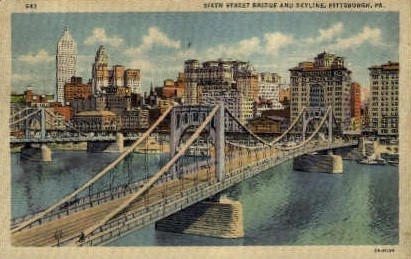 6th St. Bridge - Pittsburgh, Pennsylvania PA Postcard