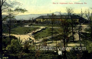 Zoo in Highland Park - Pittsburgh, Pennsylvania PA Postcard