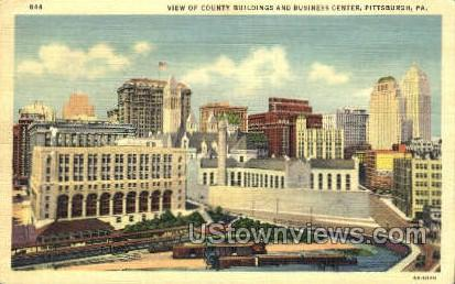 County Bldg & Business Center - Pittsburgh, Pennsylvania PA Postcard