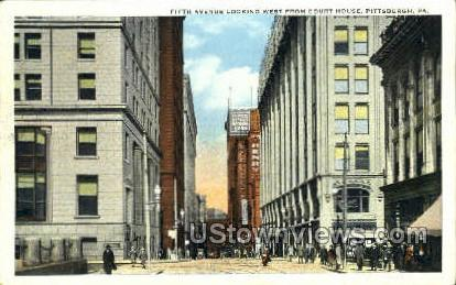 Fifth Ave, Court House - Pittsburgh, Pennsylvania PA Postcard