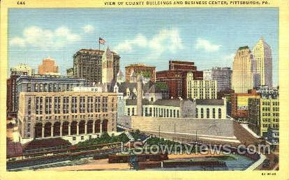 County Bldgs, Business Center - Pittsburgh, Pennsylvania PA Postcard