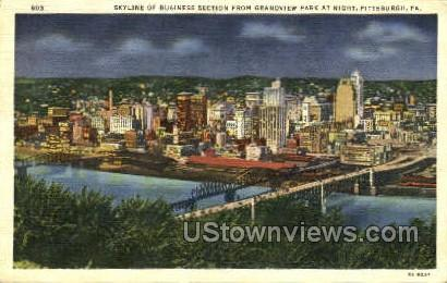 Business Section, Grandview Park - Pittsburgh, Pennsylvania PA Postcard