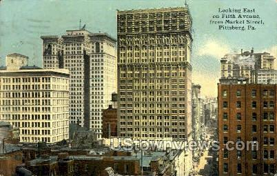 Fifth Ave. & Market Street - Pittsburgh, Pennsylvania PA Postcard