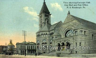 Carnegie Hall, City Hall & Post Office - Pittsburgh, Pennsylvania PA Postcard