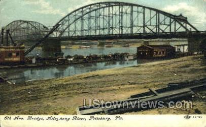 6th Ave. Bridge, Allegheny River - Pittsburgh, Pennsylvania PA Postcard