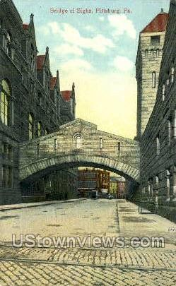 Bridge of Sighs - Pittsburgh, Pennsylvania PA Postcard