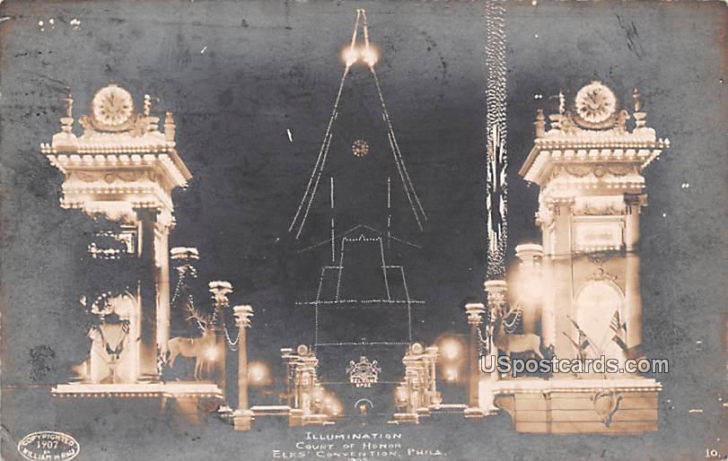 Illumination Court of Hornor - Philadelphia, Pennsylvania PA Postcard