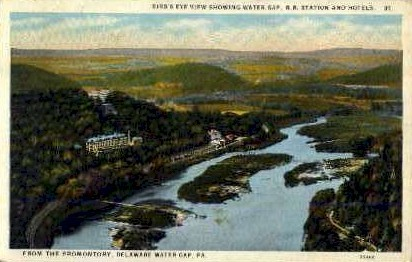 Water Gap, R.R. Station, and Hotels - Delaware Water Gap, Pennsylvania PA Postcard