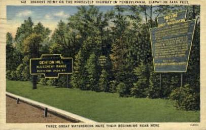 Highest Point on the Rosevelt Highway - Misc, Pennsylvania PA Postcard