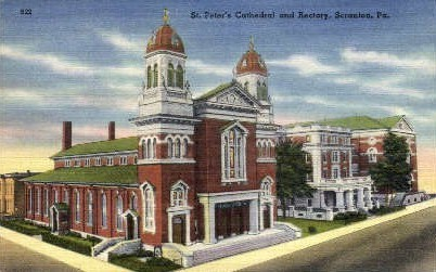 St. Peter's Cathedral and Rectory  - Scranton, Pennsylvania PA Postcard