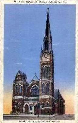 Zions Reformed Church - Allentown, Pennsylvania PA Postcard
