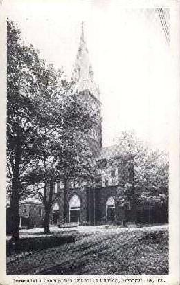 Immaculate Conception Catholic Church - Brookville, Pennsylvania PA Postcard