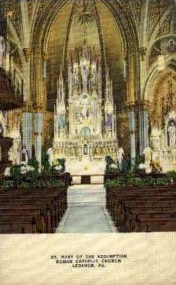 St. Mary Roman Catholic Church - Lebanon, Pennsylvania PA Postcard