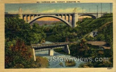 Harrison Ave, Viaduct - Scranton, Pennsylvania PA Postcard
