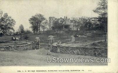 Col. L.A. Watres' Residence - Scranton, Pennsylvania PA Postcard