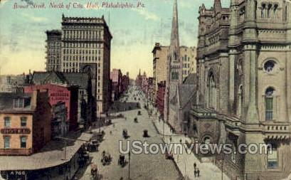 Broad St, City Hall - Philadelphia, Pennsylvania PA Postcard