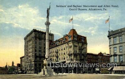 Soldiers' & Sailors' Allen Hotel - Allentown, Pennsylvania PA Postcard