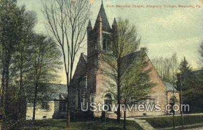 Allegheny College - Meadville, Pennsylvania PA Postcard