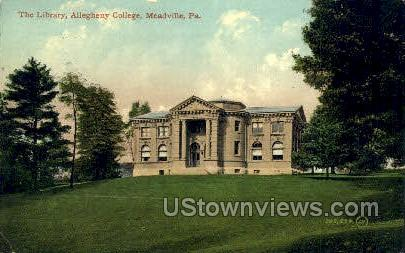 Library, Allegheny College - Meadville, Pennsylvania PA Postcard