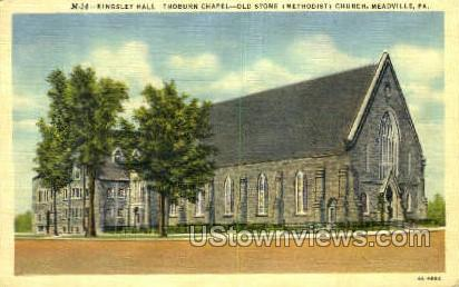 Old Stone Church - Meadville, Pennsylvania PA Postcard