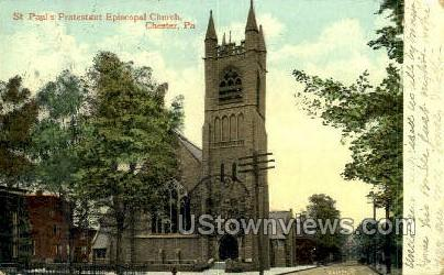 St. Paul's Protestant Episcopal Church - Chester, Pennsylvania PA Postcard