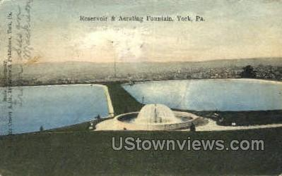 Reservoir & Aerating Fountain - York, Pennsylvania PA Postcard