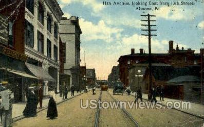 11th Ave, 13th Street - Altoona, Pennsylvania PA Postcard