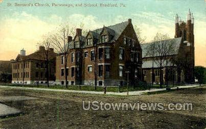 St. Bernard's Church, Parsonage - Bradford, Pennsylvania PA Postcard