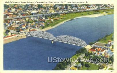 Mid Delaware River bridge - Matamoras, Pennsylvania PA Postcard