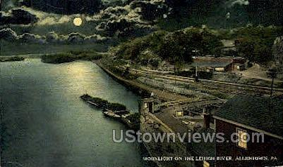 Moonlight on the Lehigh river - Allentown, Pennsylvania PA Postcard