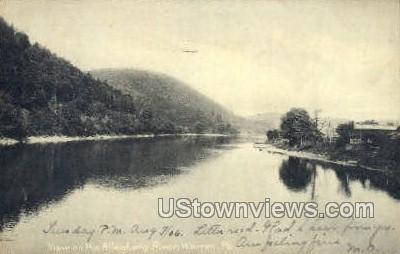 Allegheny river and bridge - Warren, Pennsylvania PA Postcard