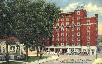 emery hotel and musc stand - Bradford, Pennsylvania PA Postcard