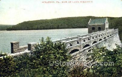 Dam at lake Scranton - Pennsylvania PA Postcard